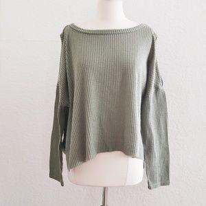 Gray Green Split Sleeve Top Shirt Size XL